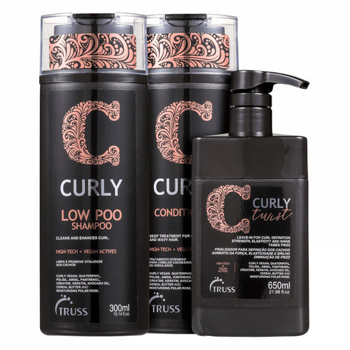 Truss Curly Low Poo Duo Kit Shampoo, Conditioner and Leave-in