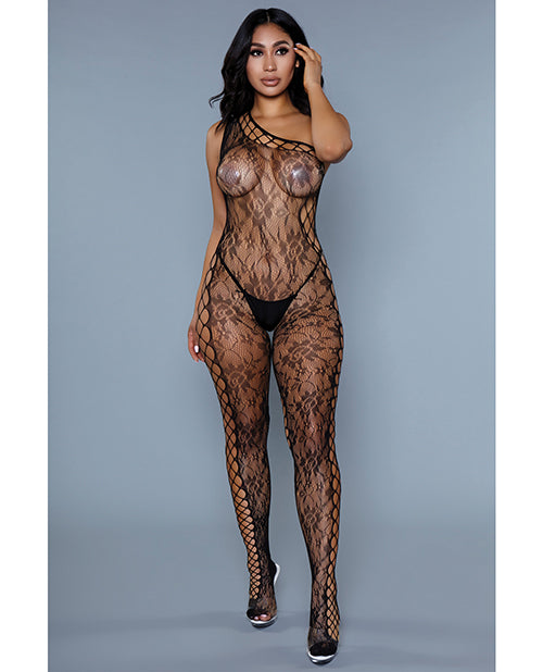 Floral Lace  Crotchless Bodystocking Black O/S