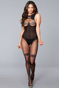 Open Low Back Crotchless With Line Details on Top and Thighs - One Size