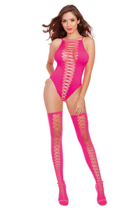 Neon Pink Teddy and Stockings - One Size