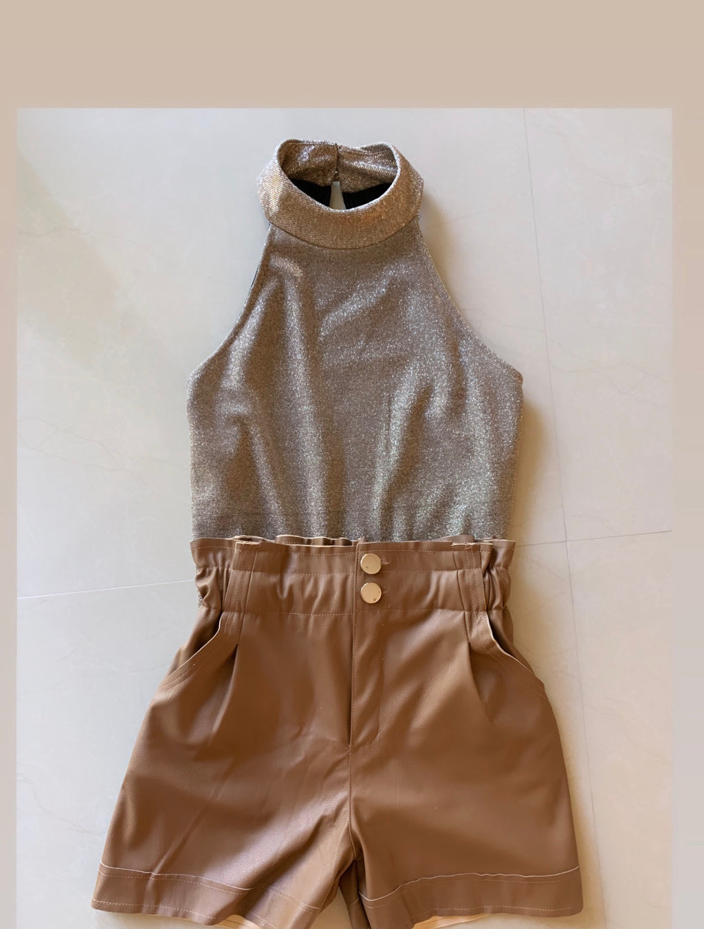 Faux Leather Camel Shorts