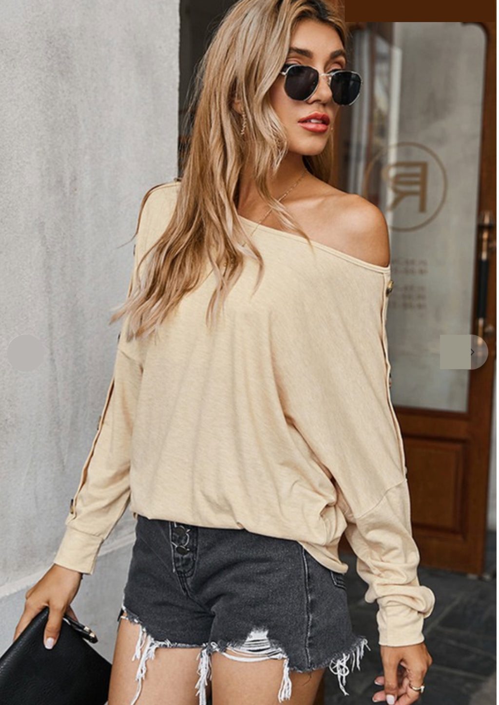 Boat Neckline Relaxed Long Sleeve Top