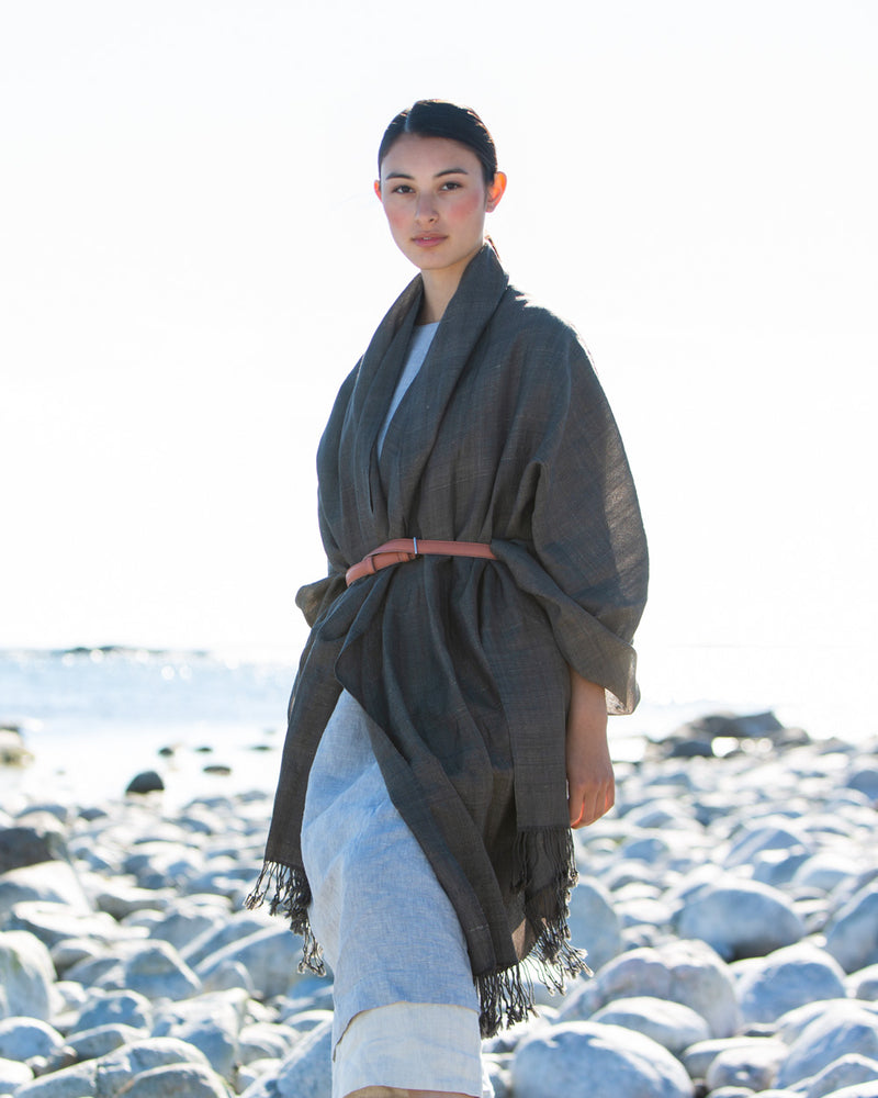 Large, Wild Muga Silk and Merino Wool Shawl