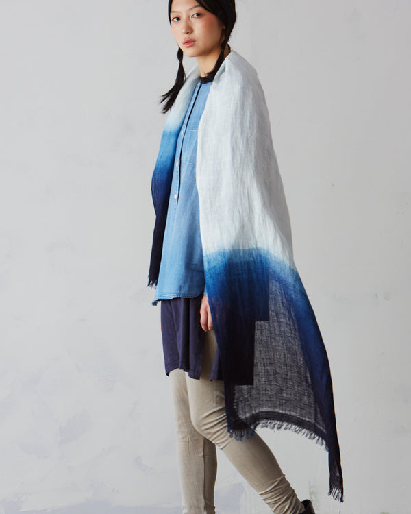 """Himalayan Mountains"" Indigo-dyed Linen Shawl – Limited Edition"
