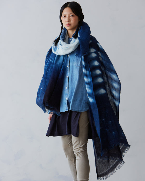 """Mica"" Indigo-dyed Linen Shawl – Limited Edition"
