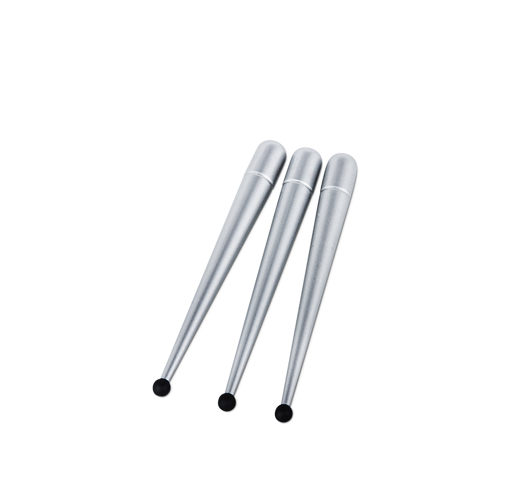 Soft silver finished spikes for MiniPod, BigPod and The Drop, set of 3 pcs for one loudspeaker