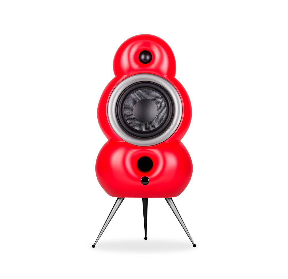MiniPod in matt red with aluminium spikes and hoops in soft silver finish.