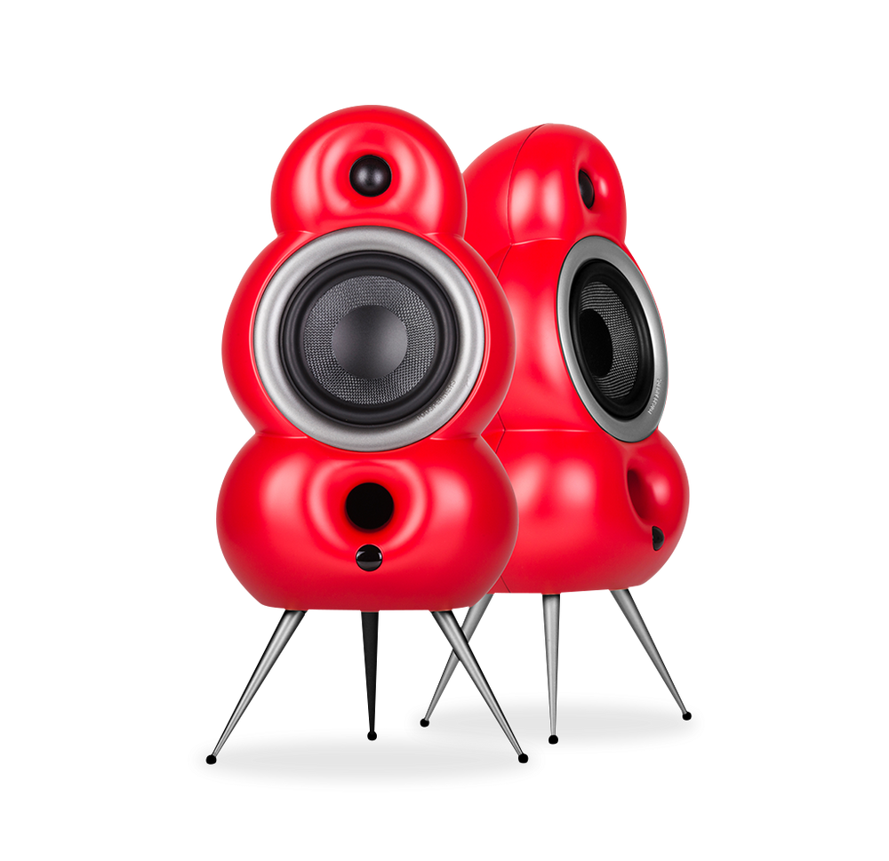 Podspeakers MiniPod Stereo Pack with MiniPod MK4 HiFi Passive Speaker and MiniPod MK2 Bluetooth active speaker red no background
