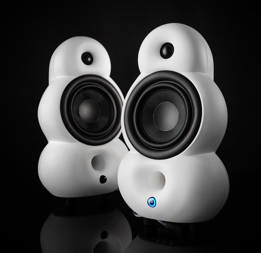 Podspeakers MiniPod Stereo Pack with MiniPod MK4 HiFi Passive Speaker and MiniPod MK2 Bluetooth active speaker in white black background