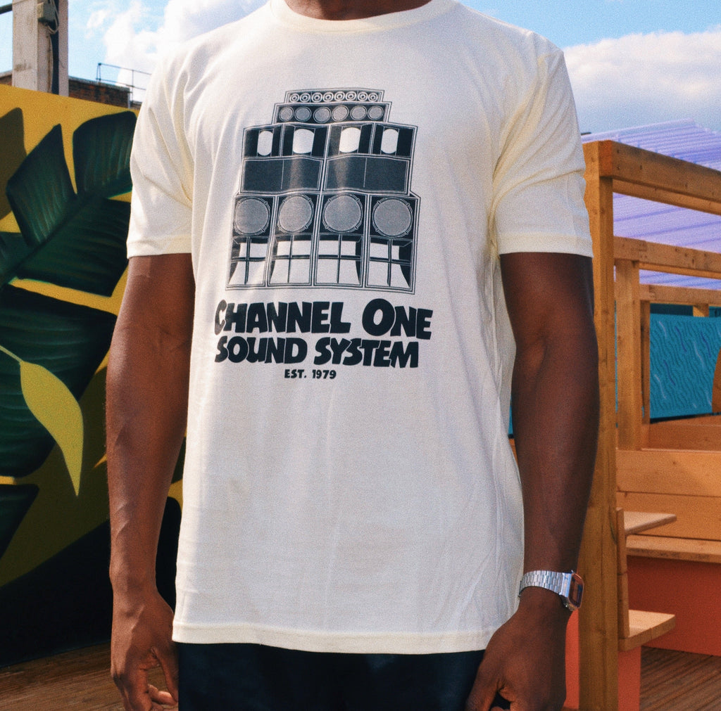 Channel One Stack - Black on Cream T-Shirt