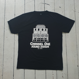 Channel One Stack - White on Black T-Shirt