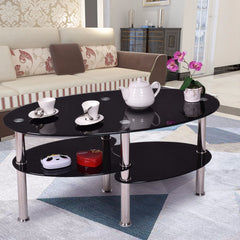 Goplus Tempered Glass Oval Side Coffee Table