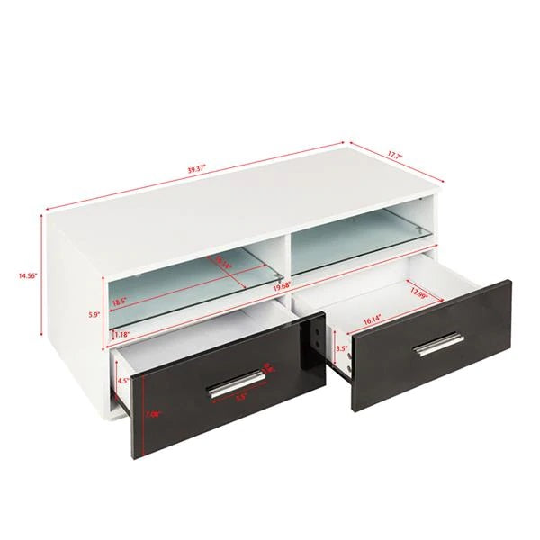 Elegant 2 Drawer TV Stand with LED Backlighting