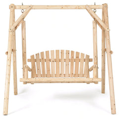 Giantex Rustic Wooden Porch Swing Bench