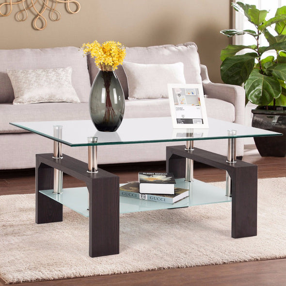 Giantex Rectangular Tempered Glass Coffee Table