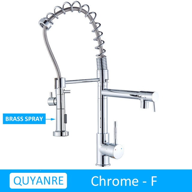 Quyanre - Dual Head Industrial Style Kitchen Faucet - 8 Finishes
