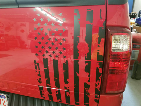 Ford distress  Window Decal american flag - OGRAPHICS