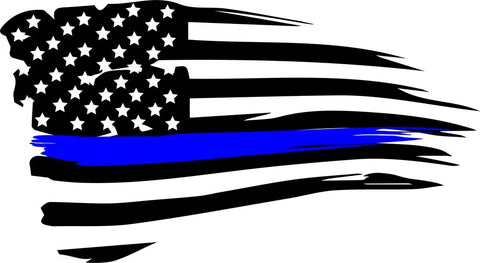 Distress  American blue line flag   flag decal / sticker / graphics - OGRAPHICS