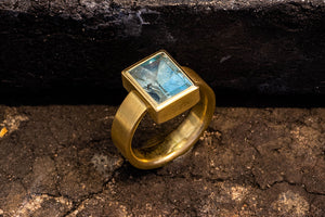 Ring - 750/-Gold mit Aquamarin