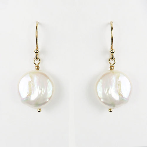 White Coin Pearl and Golden Vermeil Pinecone Earrings