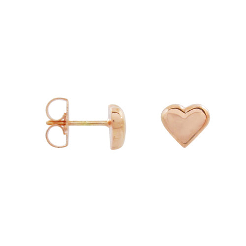 MINI HEART STUD EARRINGS IN ROSE GOLD