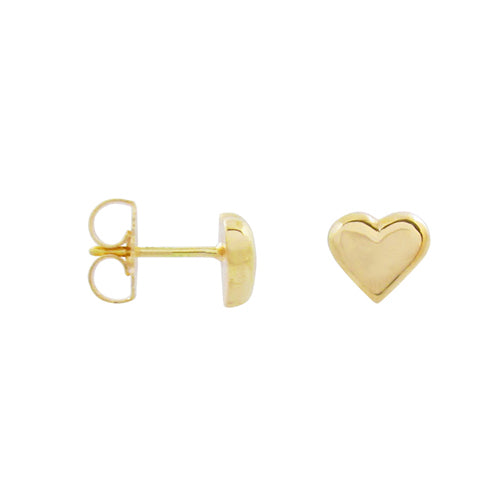 MINI HEART STUD EARRINGS IN YELLOW GOLD