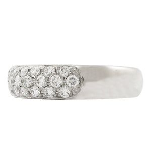 THREE ROW PAVE' RING IN WHITE GOLD WITH DIAMONDS