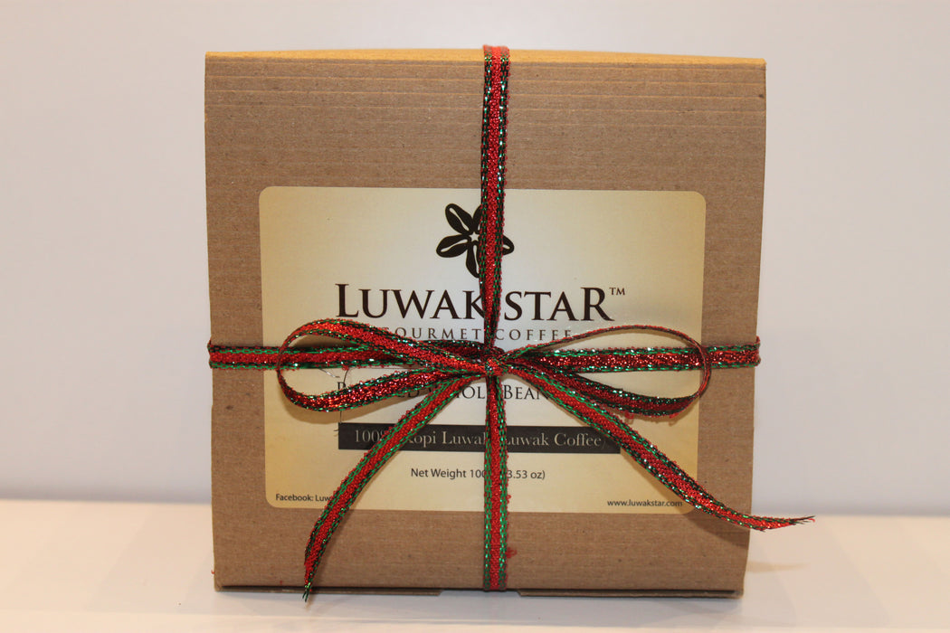 Luwak Star Gourmet Coffee Gift Set, 100% Arabica Sumatra Gayo and Bali Kintamani Luwak Coffee, Whole Beans, Medium Roast, 100 Gram (0.22 Lb), Roasted in the U.S.