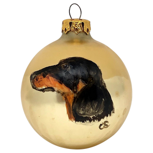 Vintage Hand-painted <br>Dachshund Globe Ornament