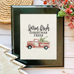Art Print - Farm Fresh Christmas Trees  - Ivory Canvas Background