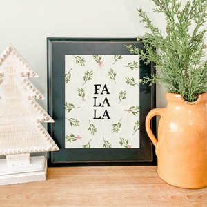 Art Print - Fa La La  - Ivory Canvas Background