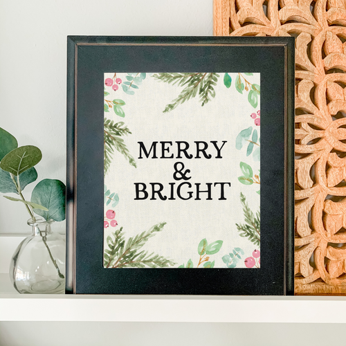 Art Print - Merry and Bright - Ivory Canvas Background