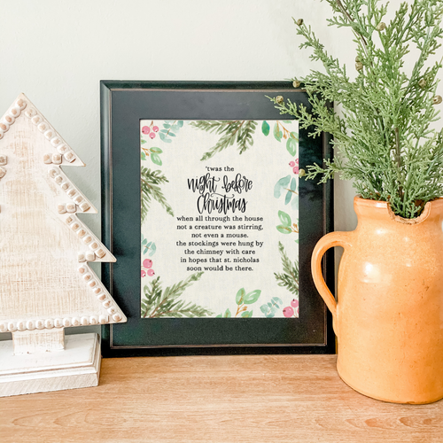 Art Print - Night Before Christmas - Ivory Canvas Background with Greenery