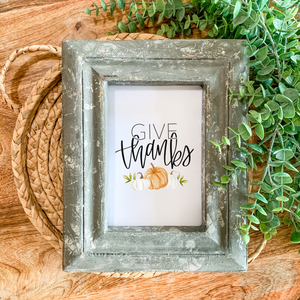 Art Print - Give Thanks with Pumpkins - White Background
