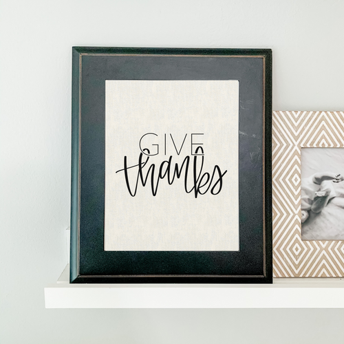 Art Print - Give Thanks - Ivory Canvas Background