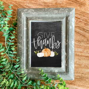 Art Print - Give Thanks with Pumpkins - Chalkboard Background