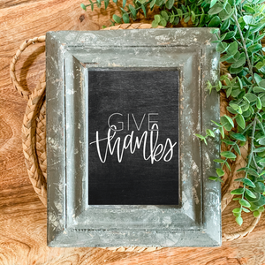 Art Print - Give Thanks - Chalkboard Background