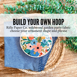 Build Your Own Hoop - 6 Inch Rifle Paper Co. Wildwood Garden Party Canvas Fabric in Embroidery Hoop with Hand Stamped Ivory Clay Ornament of Your Choice