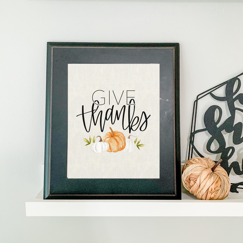 Art Print - Give Thanks with Pumpkins - Ivory Canvas Background