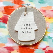 Load image into Gallery viewer, Build Your Own Hoop - 6 Inch Natural Tan Linen Fabric in Embroidery Hoop with Hand Stamped Ivory Clay Ornament of Your Choice