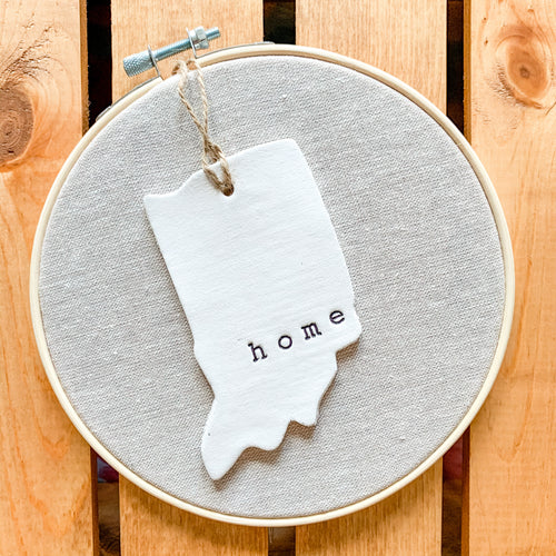 6 Inch Hoop with Natural Tan Linen Fabric and Hand Stamped Ivory Clay Indiana 'Home' Ornament