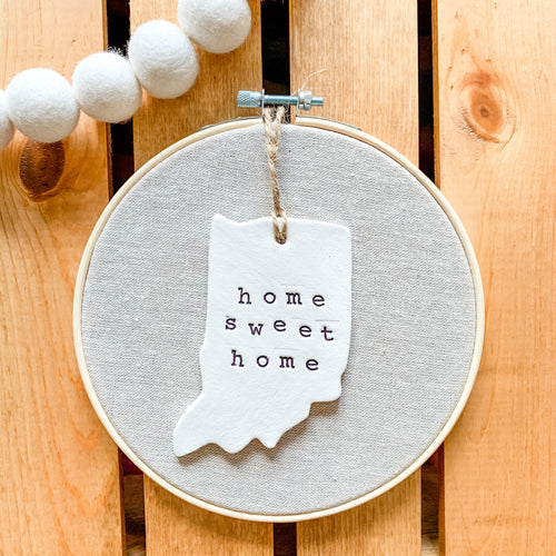 6 Inch Hoop with Natural Tan Linen Fabric and Hand Stamped Ivory Clay Indiana 'Home Sweet Home' Ornament