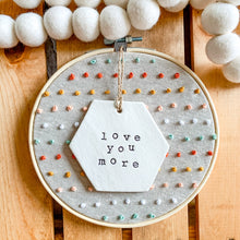 Load image into Gallery viewer, Build Your Own Hoop - 6 Inch Natural Tan Linen Embroidery Hoop with Hand Stitched French Knots and Hand Stamped Ivory Clay Ornament of Your Choice