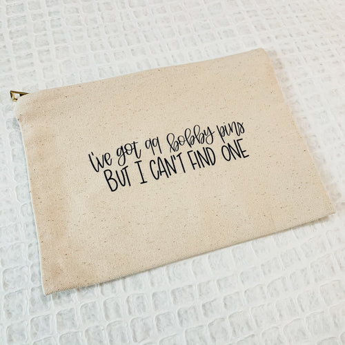 Canvas Zip Pouch - 99 Bobby Pins
