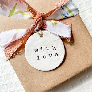 'With Love' Clay Ornament - Customizable Shape