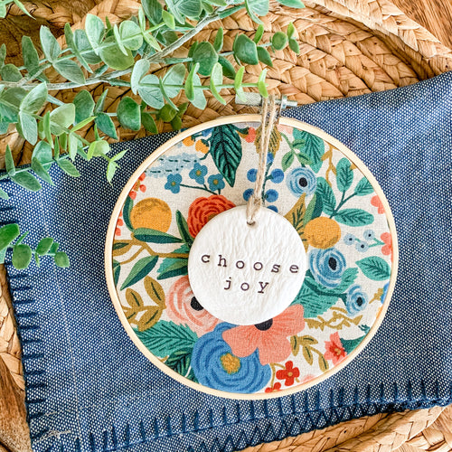 6 Inch Hoop with Rifle Paper Co. Garden Party Canvas Fabric and Hand Stamped Ivory Clay Circle 'Choose Joy' Ornament