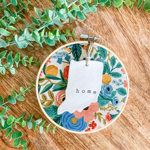 6 Inch Hoop with Rifle Paper Co. Garden Party Canvas Fabric and Hand Stamped Ivory Clay Indiana 'Home' Ornament