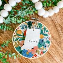 Load image into Gallery viewer, 6 Inch Hoop with Rifle Paper Co. Garden Party Canvas Fabric and Hand Stamped Ivory Clay Indiana 'Home' Ornament