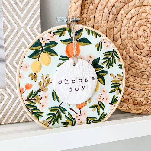 6 Inch Hoop with Rifle Paper Co. Primavera Citrus Floral Mint Fabric and Hand Stamped Ivory Clay Circle 'Choose Joy' Ornament