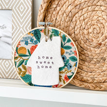 Load image into Gallery viewer, 6 Inch Hoop with Rifle Paper Co. Garden Party Canvas Fabric and Hand Stamped Ivory Clay House 'Home Sweet Home' Ornament